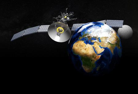 3d illustration of satellite orbiting earth on black background