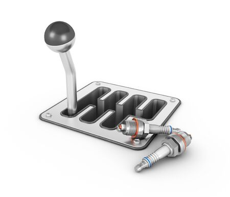 Mechanic Transmission with car candles. 3d illustration. isolated white background.