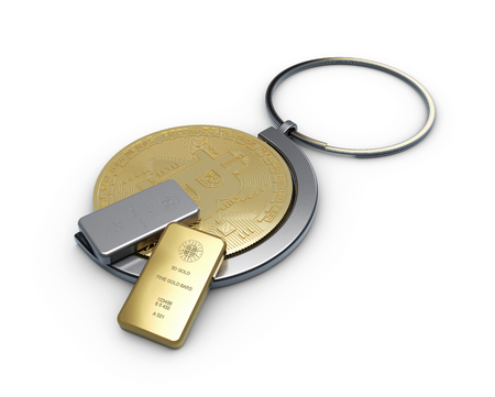 3d illustration of golden bitcoin in a keychain with gold and silver bar, close up. Stock Photo
