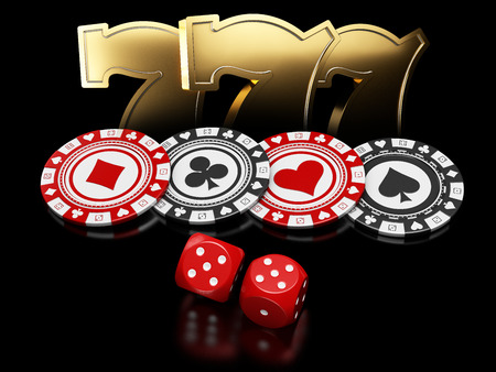 Casino chips with dice and slot machine signs on black background, 3d Illustration.