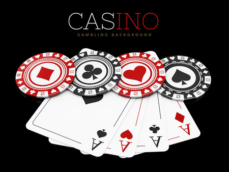 Casino chips with poker cards, on black background, 3d Illustration.