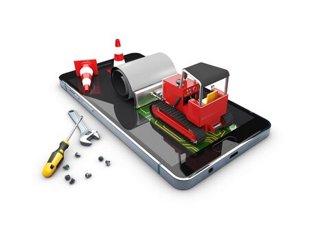 3d Illustration of Bulldozer on the screen. Concept Mobile repair.