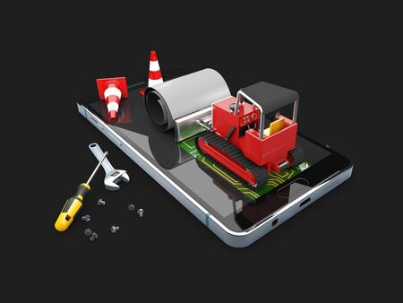 Bulldozer on the screen. Concept Mobile repair, isolated black, 3d Illustration.
