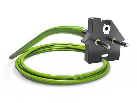 Electric green plug in the form of house. 3d Illustration. Stock Photo