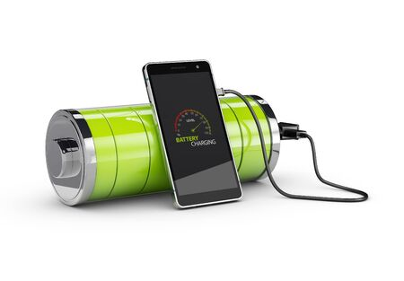 Charged Smartphone with full green battery, isolated white 3d Illustration. Stock Photo