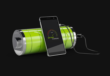 3d Illustration of Charged Smartphone with full green battery, isolated black.