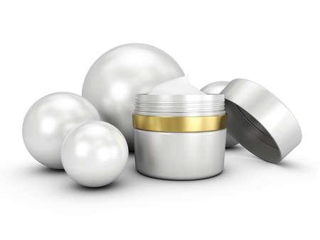 Elegant cream container, 3D illustration cosmetic bottle template for cream or gel.