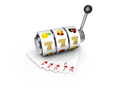 3d Illustration of Slot machine with lucky sevens jackpot with play cards.