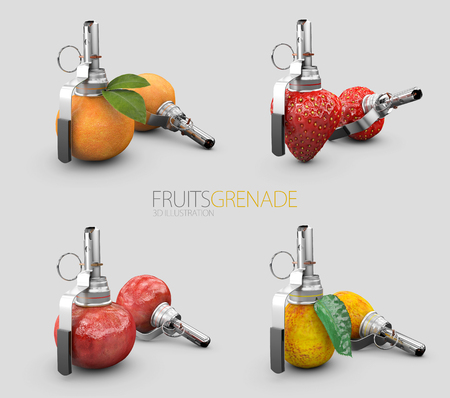 Set of friuts grenades isolated on gray background, 3d Illustration. Stock Photo