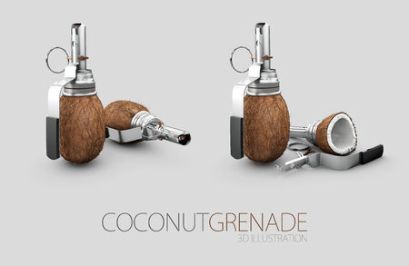 3d Illustration of coconut and cracked coconut grenade. Stock Photo