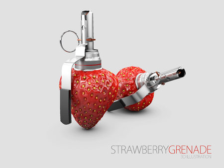 3d Illustration of Strawberry grenade isolated on gray background.