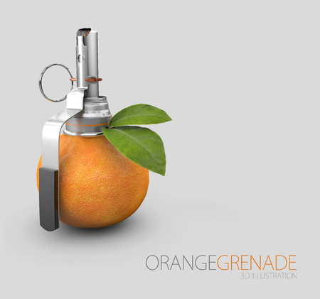 3d Illustration of Orange grenade isolated on gray background.