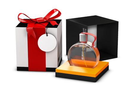 Boîte de parfum blanche et noire avec une bouteille de parfum, sur fond blanc. Illustration 3d. Maquette.