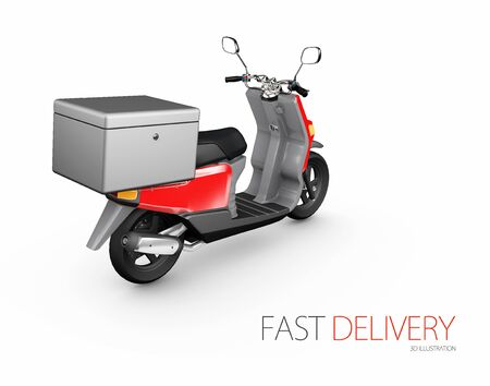 Delivery ride scooter motorcycle service, Order, Fast and Free Transport, 3d Illustration.