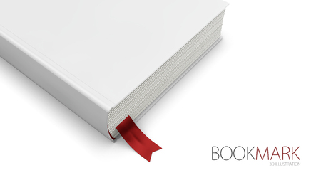 Bookmark in a book isolated on white, 3d Illustration.