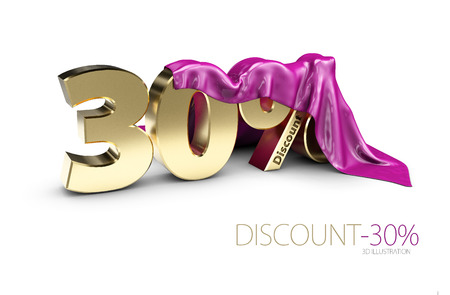 percentage discount sign under cloth, percentage discount sign, percentage discount sign, 3dIllustration. Stock Photo