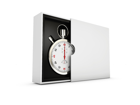 Stopwatch in the gray box on white background 3d Illustration. Stock Photo