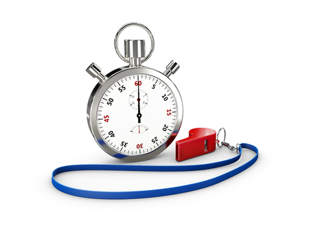 Sport Stopwatch with whistle, On White Background 3d Illustration.