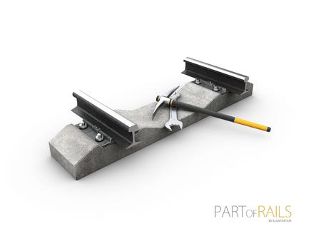 Steel train rail track profile symbol with tools, 3d Illustration. Stock Photo