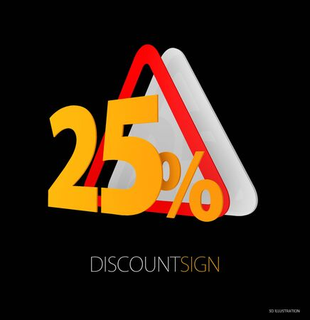 3d Illustration of Road Sign, red yellow sign as discount road sign symbols. Stock Photo
