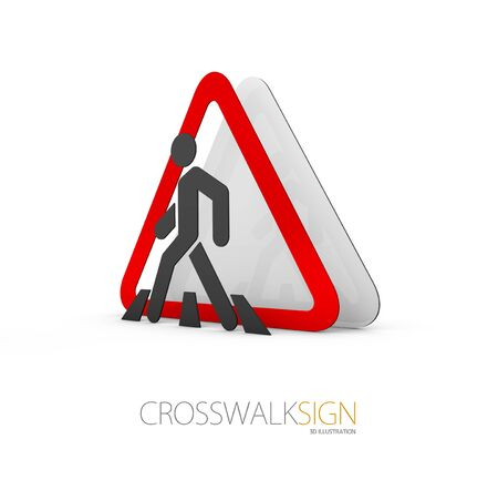 Road Sign, red gray road sign symbols, isolate white 3d Illustration. Stock Photo