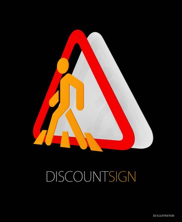 3d Illustration of Road Sign, red yellow road sign symbols.