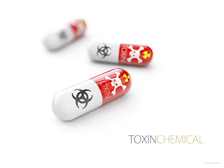 Pills named Toxin with a skull as the brand. Its a medical fake product, which alludes to the danger of false medication. 3d illustration.