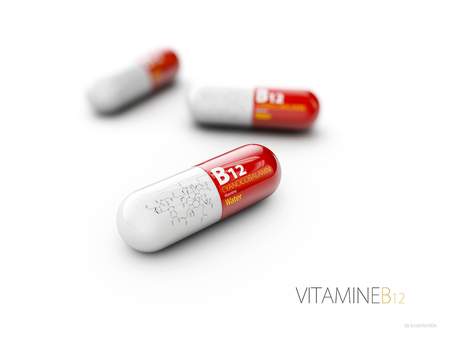 3d Illustration of Vitamin B12 Capsule with formule, isolated white.