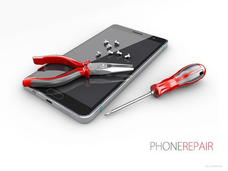 Mobile service concept. Smarthone with tools 3d illustration.