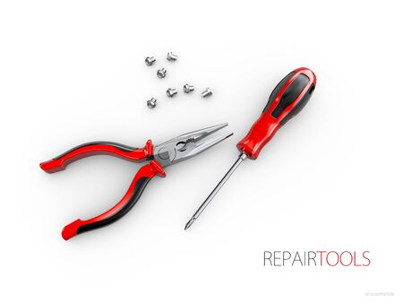 Repair service concept, electric tools. 3d illustration isolated white.