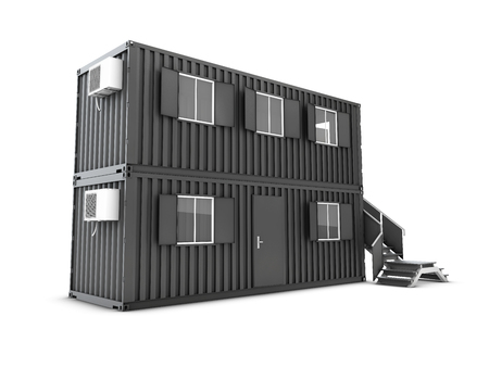Converted old shipping container into building office with locker room Foto de archivo