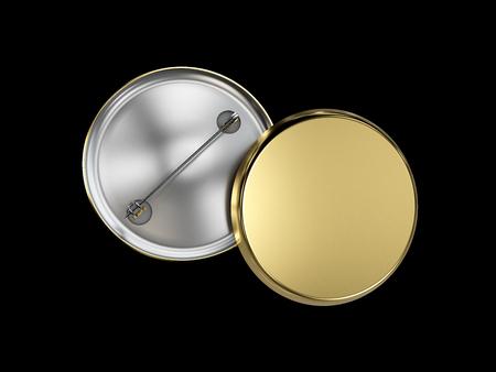 3d illustration of Golden Blank badge. isolated on black background. Banque d'images - 101606329