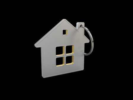 3d Illustration of Keychain in the form of a house, isolated black.
