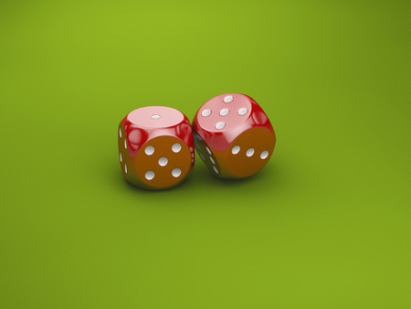 Two dice casino gambling template concept. Green background. Stock Photo