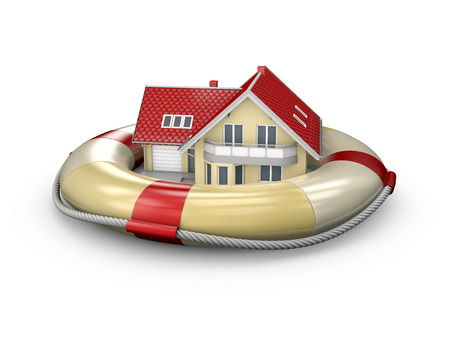 3d Illustration of protection house with lifebuoy isolated white background. Reklamní fotografie