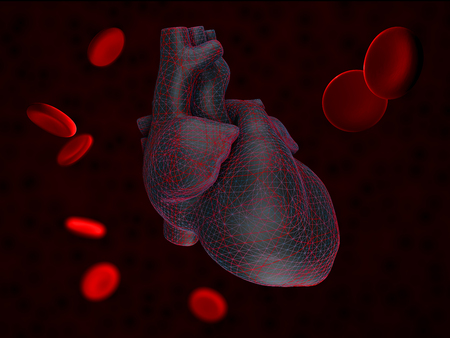 3d Illustration of Anatomy of Human Heart with blood cells Isolated on black.