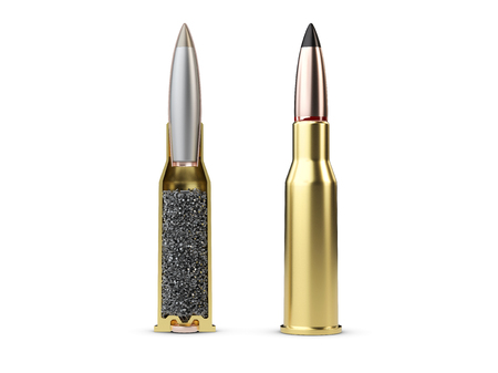 Structure of bullet on white background, 3d Illustration. Stock Photo