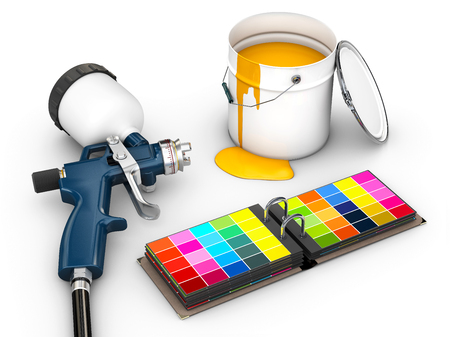 3d Illustration of spray gun with color palette isolated on white Фото со стока - 105437244