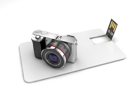 Blank white plastic wafer usb card mockup with camera, 3d Illustration