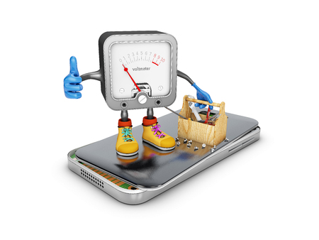 voltmeter with tools on the broken phone isolated on white background. 3d illustration