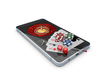 Online casino concept, playing cards, dice chips and smartphone 3d Illustration