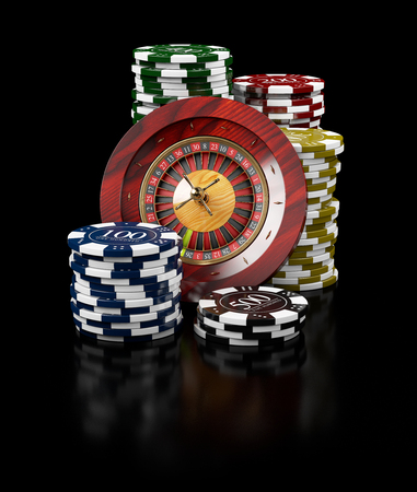 Roulette with Chips, Casino concept, 3d Illustration of Casino Games Elements.