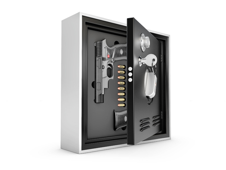 3d Illustration of Armored safes with guns and bullets