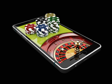 Online Internet casino app, roulette with chips on the phone, gambling casino games. 3d illustration.