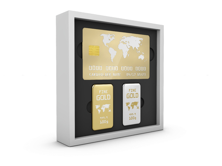 Golden member card with golden bars in the box, 3d Illustration. Фото со стока