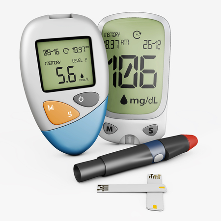 realistic blood glucose meter glucometer, diabetes blood glucose test isolated 3d Illustration. Zdjęcie Seryjne