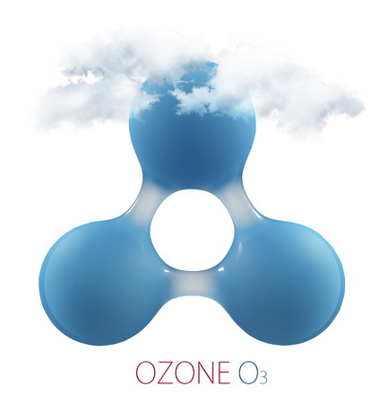 O3 ozone 3d molecule isolated on white.