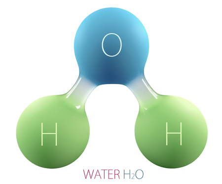3d Illustration of Chemical formula for H2O water sign.