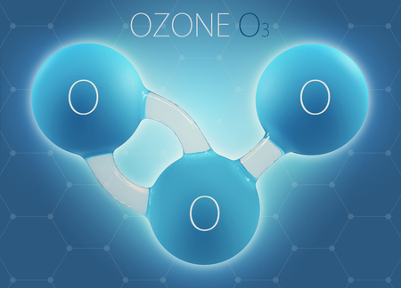 O3 ozone 3d molecule isolated on abstract background.