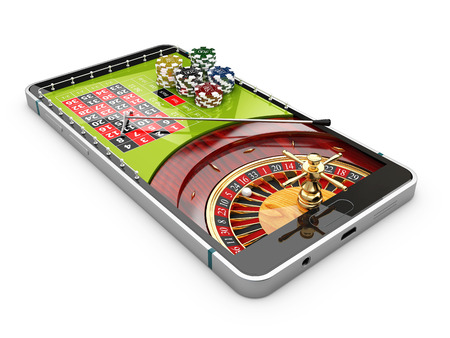 3d illustration of online Internet casino app, roulette with chips on the phone, isolated white Reklamní fotografie